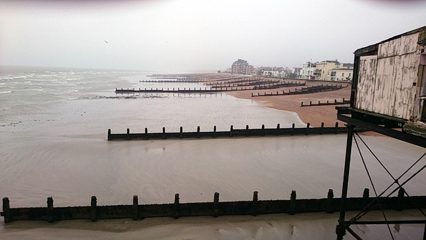 A grim afternoon in rain-lashed Bognor Regis, West Sussex, England