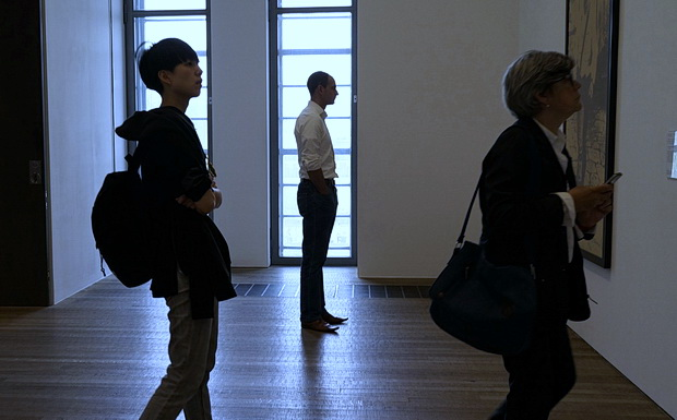 In photos: people looking at art, doors and workmen, Tate Modern, London, May 2016