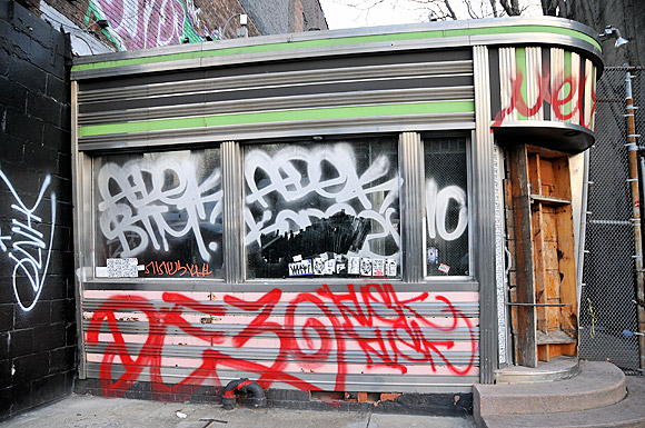 Abandoned diner, 357 West Street, lower Manhattan, NYC