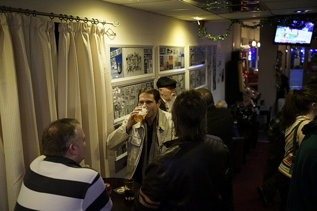 A night of drinking and dancing at the Andrew Buchan Bar, Albany Road, Cardiff, December 2015