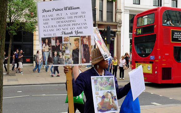 The oddest anti-royal wedding protest of the lot, Oxford Street