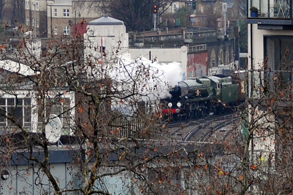Steam train puffs through Brixton - backwards!
