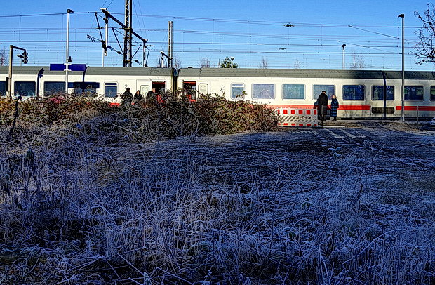 Crossing a chilly border: Bad Bentheim station in winter, Germany