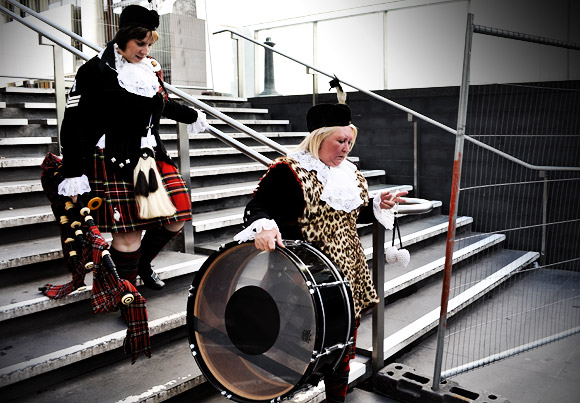 Pic of the day: Bagpipes and big drum, South bank, London