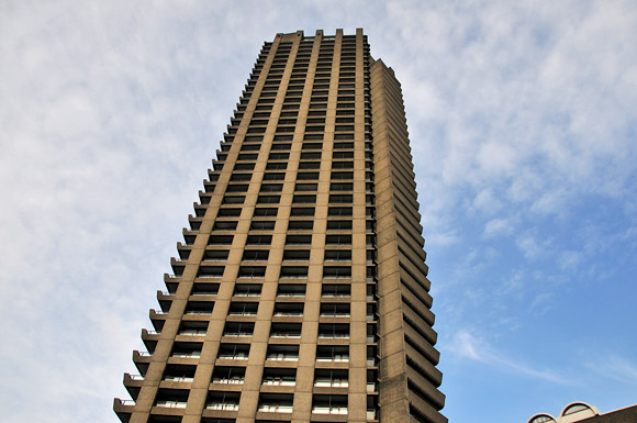 A spring strut through the Barbican estate, London
