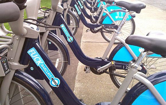 Barclays Cycle Hire bikes get subverted with anti-Barclays message