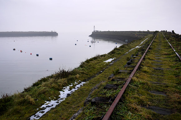 Barry Island breakwater, pier and railway, Wales