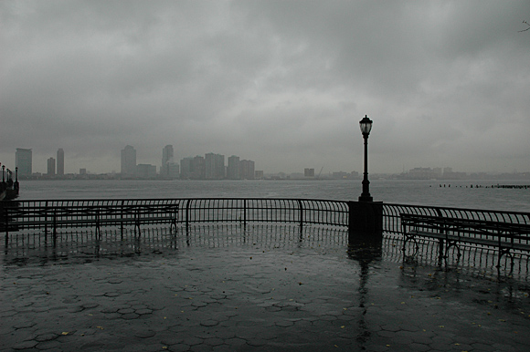Battery Park, New York in the rain