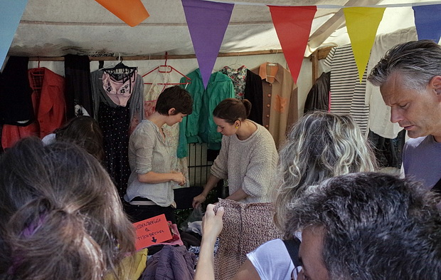 Nowkölln Flowmarkt, street market for secondhand clothes, art, music and handmade items, Berlin, Germany