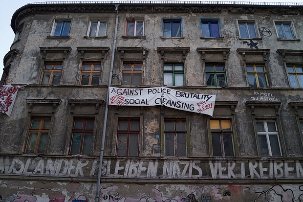 Berlin photos - station, stickers, squats and gentrification