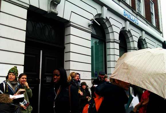 Barclays Bank Brixton closed down by UKUncut protesters