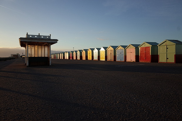 Brighton beach huts and shelters in the winter chill, Brighton and Hove, England, February 2015