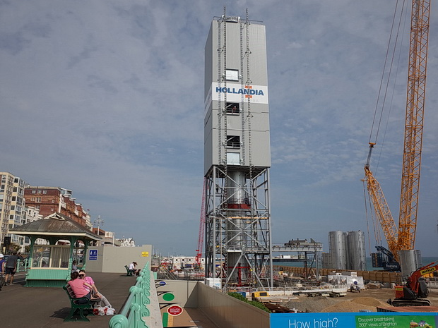 Brighton's i360 tower under construction, Brighton, England, July 2015