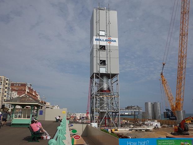 Brighton's i360 tower under construction, Brighton, England, July 2015