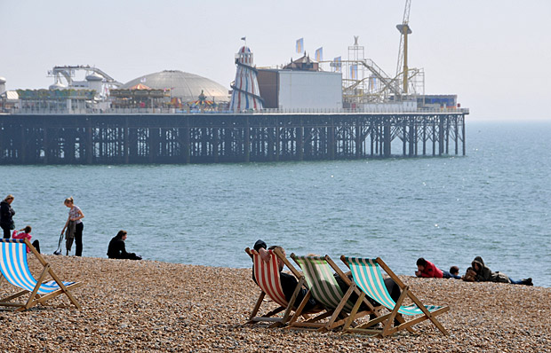 A sunny day by the seaside at Brighton, East Sussex, April 2012