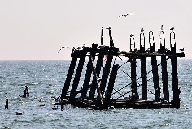 The remains of West Pier on Brighton beach, Brighton, East Sussex, April 2012