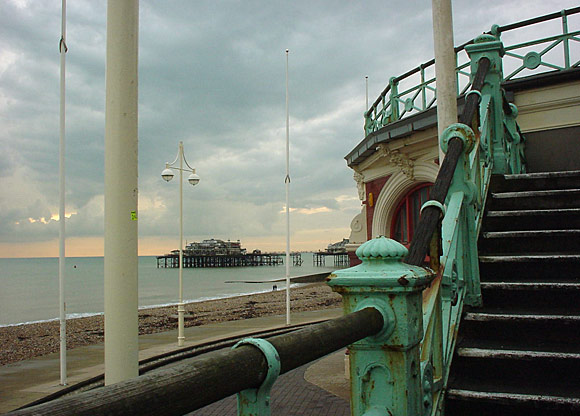 Brighton 2002: West Pier and a shop window piled full of books