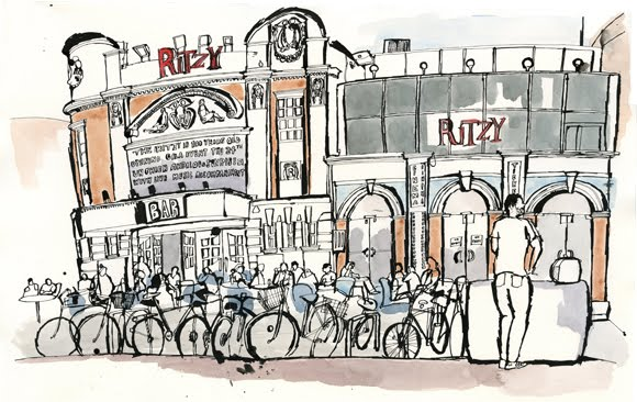 Brixton illustrated in dip pen and ink