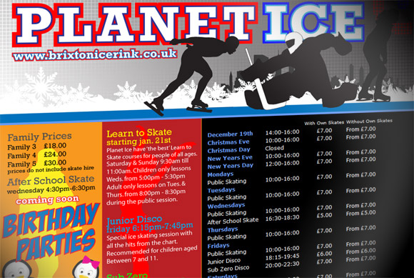 Brixton Ice Rink opens on Mon 19th Dec - timetable and prices announced