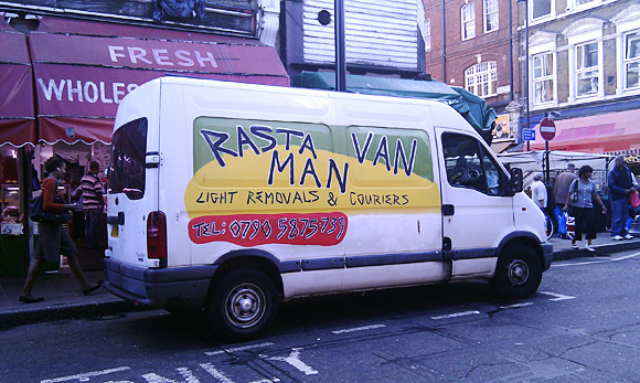 Brixton scenes: rasta van, Mr Biggs, graffiti and Grosvenor banjos