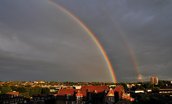 A stunning rainbow over Crystal Palace, south London