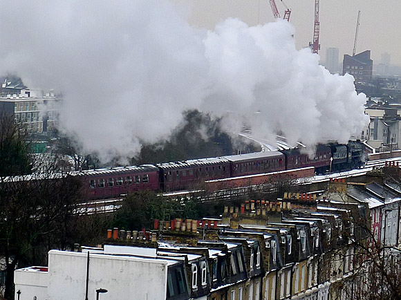 Brixton snow and steam as the Sussex Belle steams past