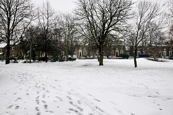 Snowy scenes over Brixton, south London, Sunday 5th February 2012