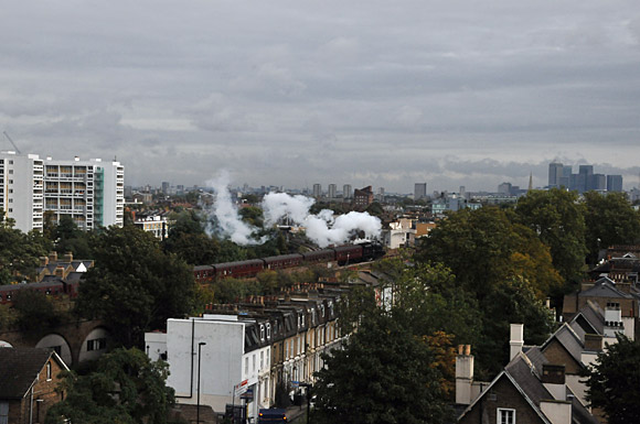 Brixton steam: LMS 'Black 5' locomotive passes through
