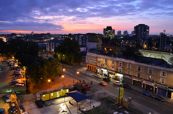 Brixton - autumnal sunset over Coldharbour Lane