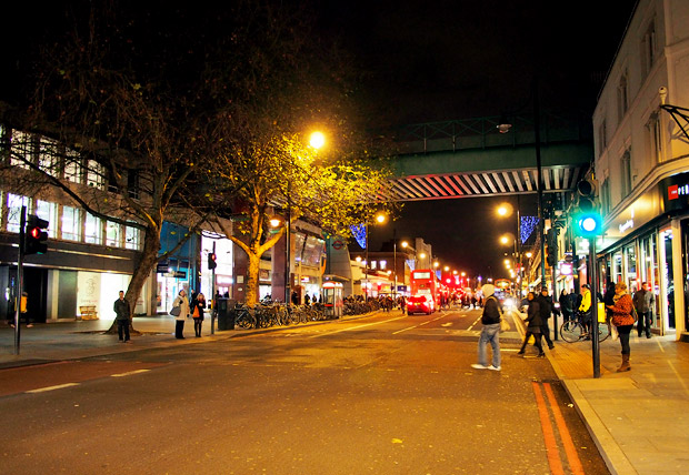 Christmas lights around Brixton town centre, December 2012, London, England UK