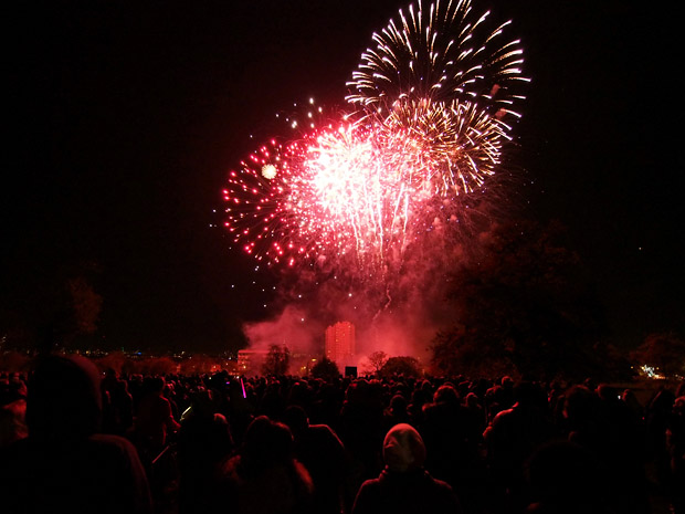 Brockwell Park fireworks display 2012, Herne Hill near Brixton, Lambeth, south London 2nd November 2012
