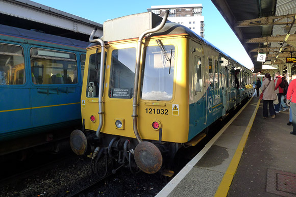 Sixty year old train still in service as BR Class 121 rumbles along the Cardiff Bay line