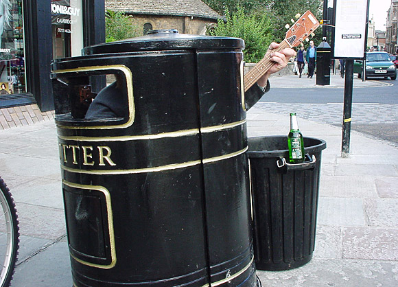 Busker in a bin. Cambridge