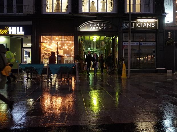 Rainy tables and the last of the Christmas lights, Cardiff 2nd Jan 2018