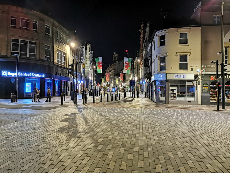 Cardiff in lockdown - stations, street photos and night scenes, July 2020