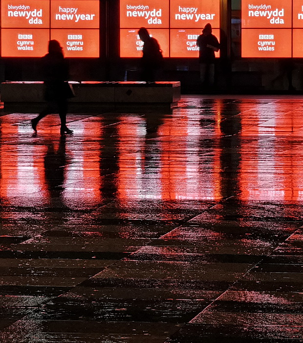 Photos of the rain-soaked streets of Cardiff - City centre and Llanishen at night, Jan 2020