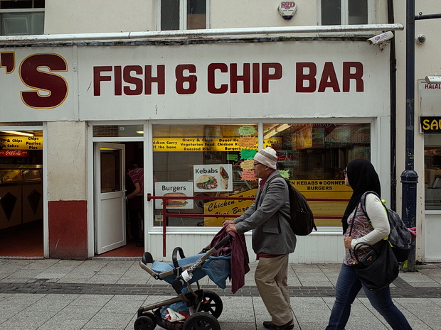 Cardiff street scenes: religious rows, sand dogs and Chip Alley, Wales, August 2015