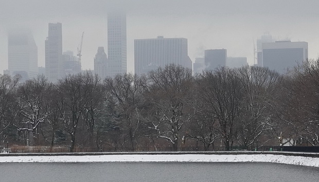 In photos: Central Park in the snow on St David's Day, New York, March 2019
