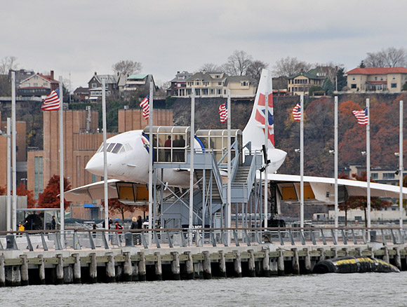 Record smashing Concorde aircraft stuck on a jetty, NYC