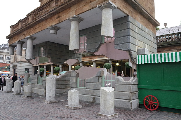Covent Garden floating building illusion created by Alex Chinneck, London, October 2014