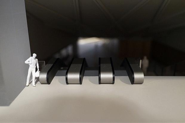 Crossrail station designs on the Elizabeth Line displayed at RIBA, London