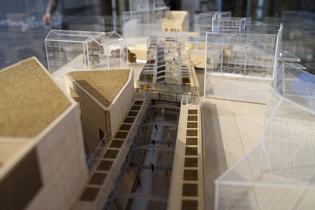 Crossrail station designs on the Elizabeth Line displayed at RIBA, London