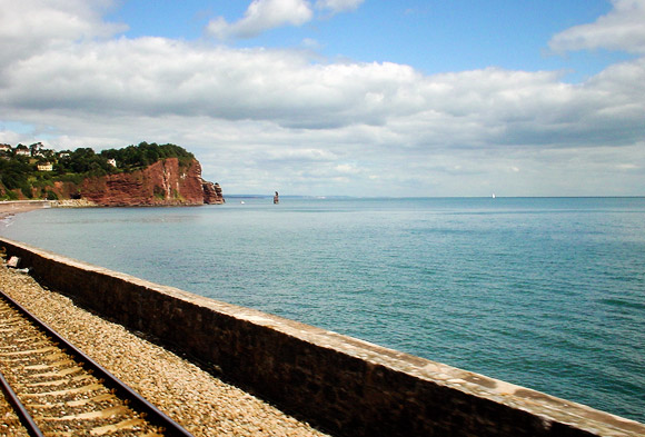 View from a train: the Great Western line through Dawlish, Devon