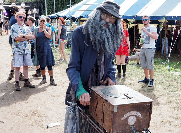 Dirk, the amazing robot tramp at Boomtown Fair, Winchester, England, August 2014