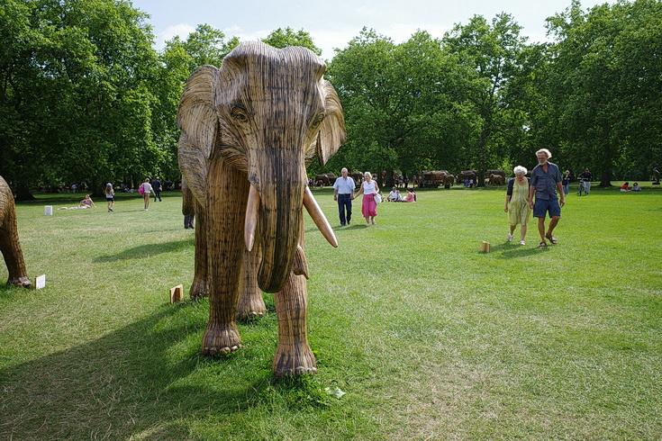 A herd of a 100 elephants descends on London's Green Park