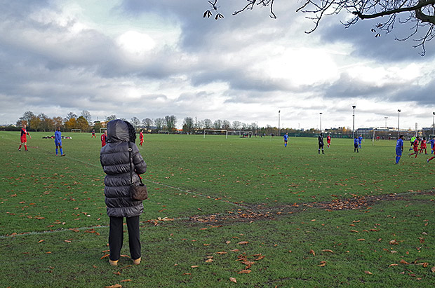 A winter's Saturday afternoon on Enfield Playing Fields, north London, November 2013