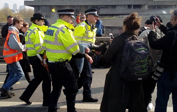 Extinction Rebellion protests: Day 3 - arrests on Waterloo Bridge, Weds 17th April 2019