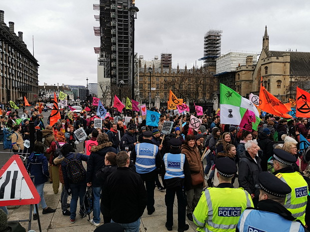In photos: Extinction Rebellion protest in Parliament Square, London, Sat 22nd Feb 2020