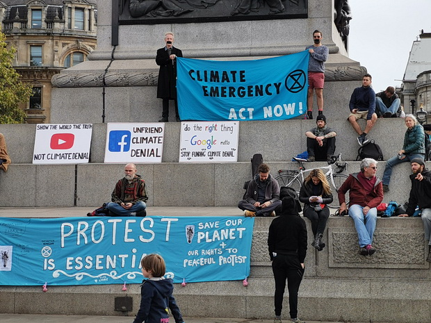 Extinction Rebellion activists defy government protest ban and pack out Trafalgar Square in London, 16th Oct 2019
