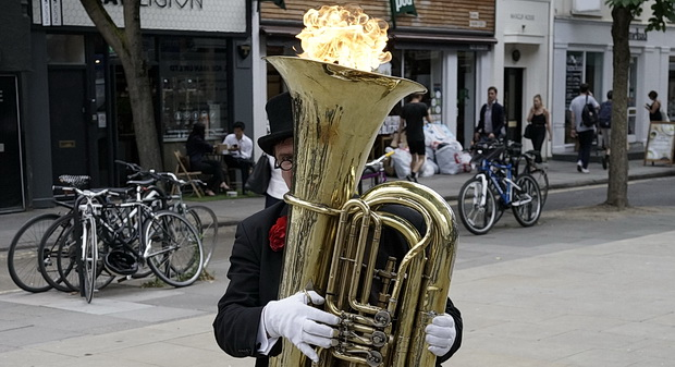 The Fire Breathing Tuba of Tottenham Court Road - London busker, July 2016